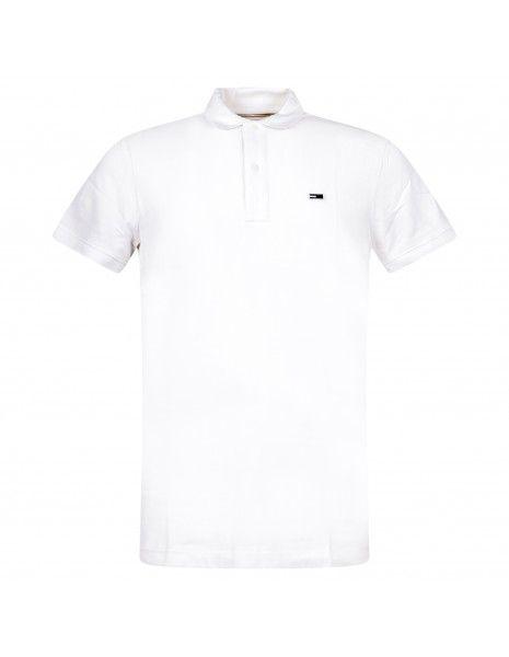 Tommy Jeans - Polo bianca manica corta con patch logo per uomo | dm0dm09439ybr