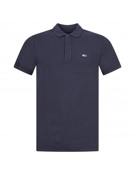 Tommy Jeans - Polo blu manica corta con patch logo per uomo | dm0dm09439c87