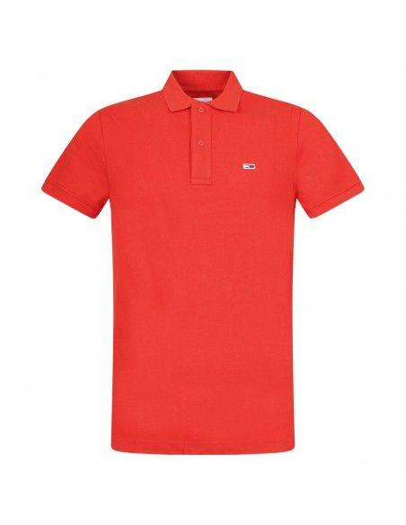 Tommy Jeans - Polo rossa manica corta con patch logo per uomo | dm0dm09439xnl
