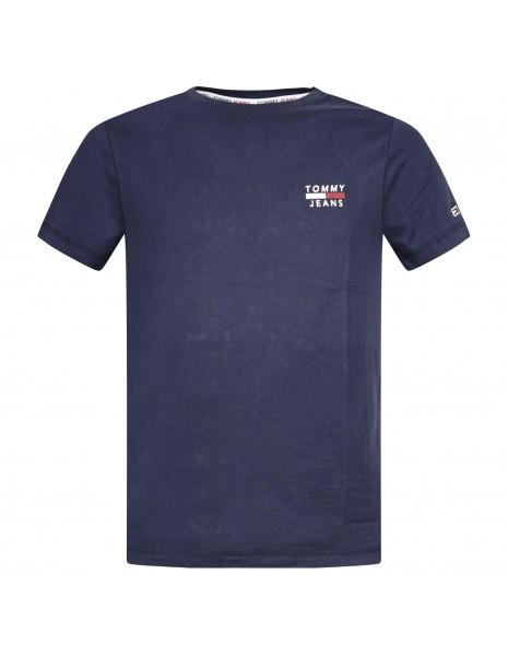 Tommy Jeans - T-shirt blu manica corta con stampa logo per uomo   dm0dm10099c87
