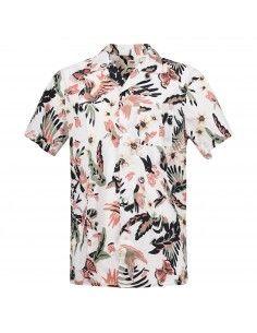 Camicia mezza manica bianca con stampa multicolore