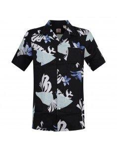 Camicia mezza manica nera con stampe floreali
