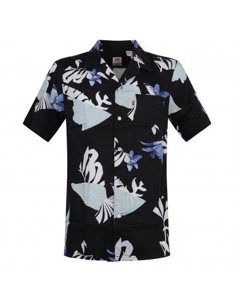 Levi's - Camicia mezza manica nera con stampe floreali per uomo | 72625-0035