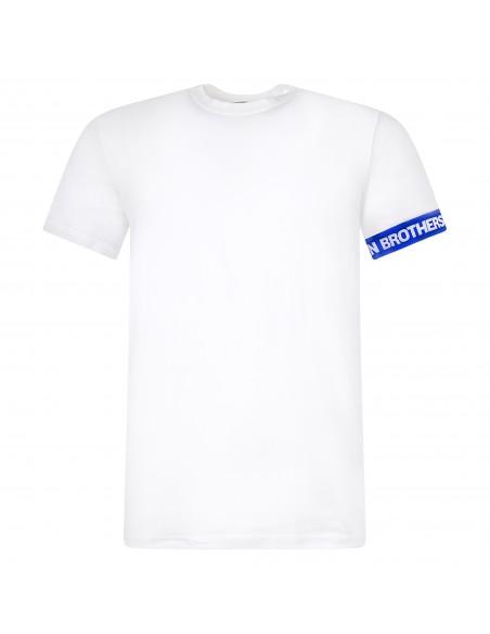 Dsquared2 - T-shirt bianca manica corta con banda logo sulla manica per uomo  