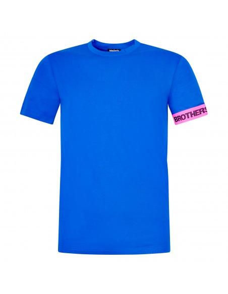 Dsquared2 - T-shirt azzurra manica corta con banda logo sulla manica per uomo  