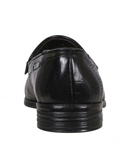 Jp/David - Mocassino nero in pelle con frangia e nappine per uomo   37012/7 nero