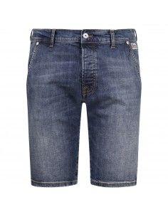Bermuda jeans tasca a filo denim medio slim