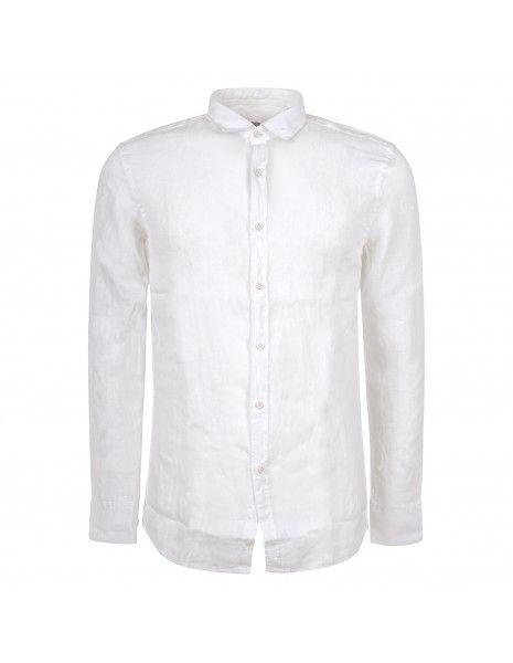 Luca Bertelli - Camicia bianca in lino per uomo | c3229 bianco