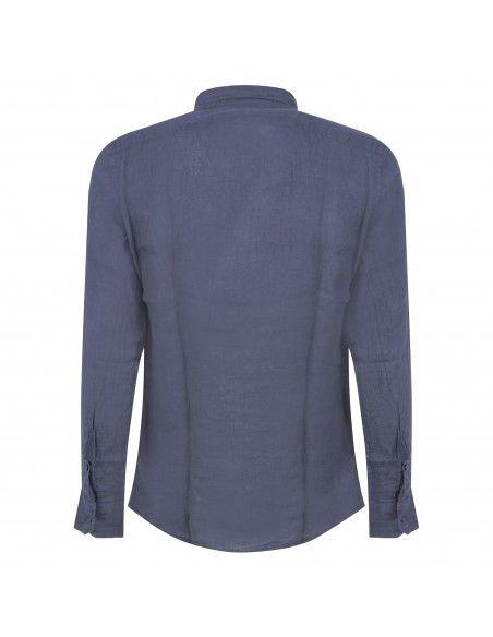Luca Bertelli - Camicia blu in lino per uomo | c3229 blu