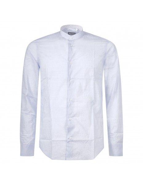 Luca Bertelli - Camicia celeste coreana lavorata per uomo   c3802 celeste