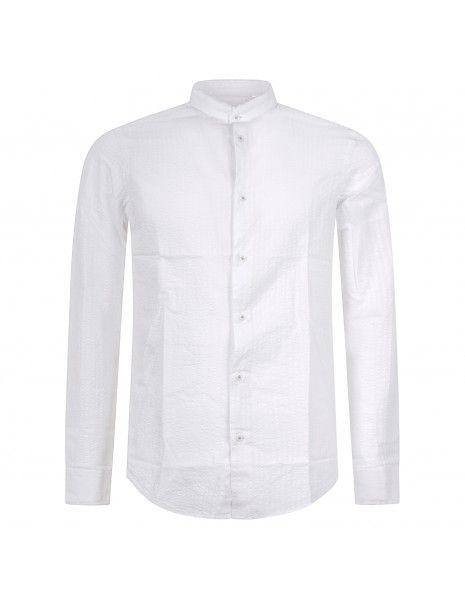 Luca Bertelli - Camicia bianca coreana rigata per uomo | c3801 bianco