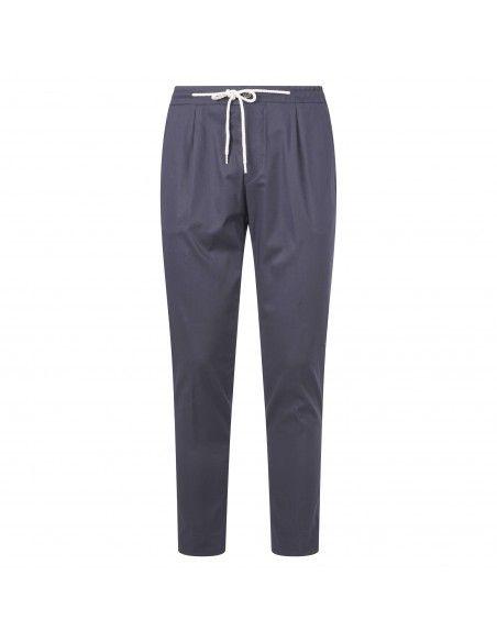 Luca Bertelli - Pantalone blu con elastico in vita e coulisse per uomo | p1824