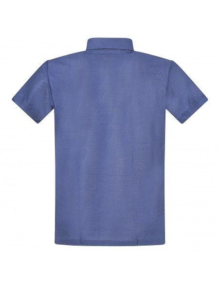 Luca Bertelli - Polo blu manica corta lavorata per uomo | t31011 t31011 blu