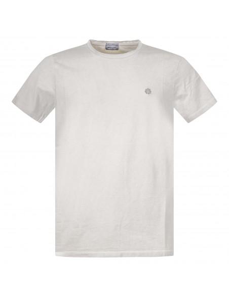 Luca Bertelli - T-shirt beige manica corta effetto slavato per uomo | t2606