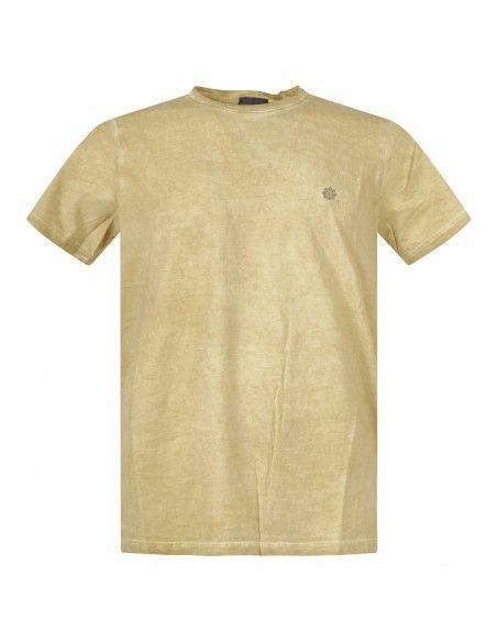 Luca Bertelli - T-shirt gialla manica corta effetto slavato per uomo   t2606