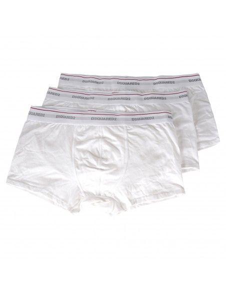 Dsquared2 - Set boxer bianchi da 3 pezzi con elastico per uomo | dcxc60040