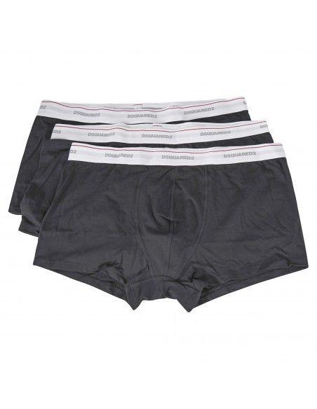 Dsquared2 - Set boxer neri da 3 pezzi con elastico per uomo | dcxc60040
