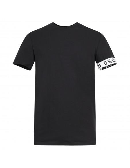 Dsquared2 - T-shirt nera manica corta con banda logo sulla manica per uomo |