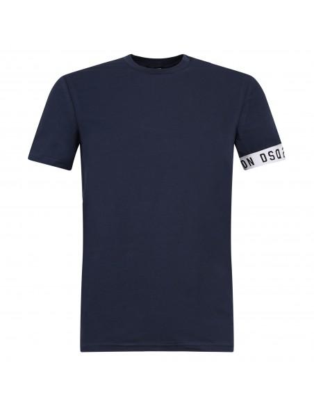 Dsquared2 - T-shirt blu manica corta con banda logo sulla manica per uomo  
