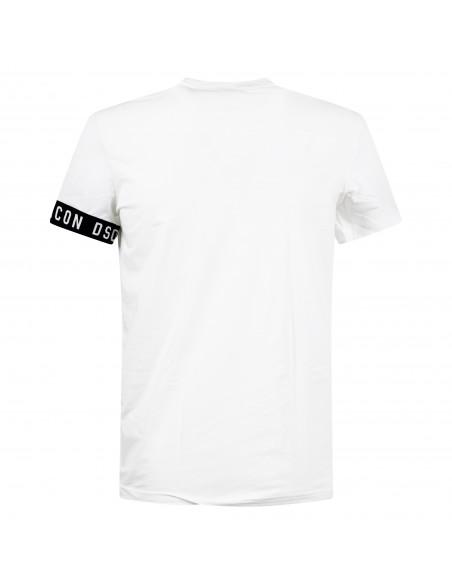 Dsquared2 - T-shirt bianca manica corta con banda logo sulla manica per uomo |