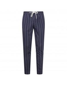 Pantalone blu gessato con coulisse