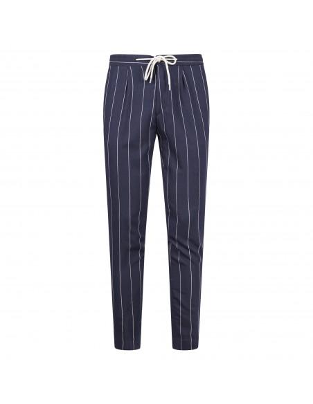 Luca Bertelli - Pantalone blu gessato con coulisse per uomo   p1829 ryan blu