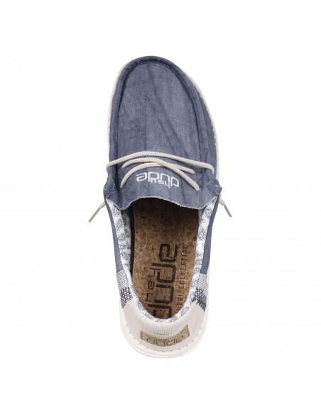 Hey Dude - Slip on blu tomaia lino con memory foarm per uomo | 110792132 wally