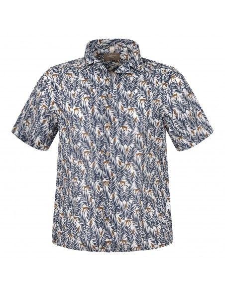 Portofiori - Camicia a manica corta multicolore a fantasia per uomo | canapa