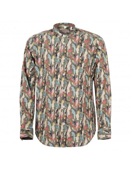 Portofiori - Camicia coreana multicolore stampa papagalli per uomo   primula