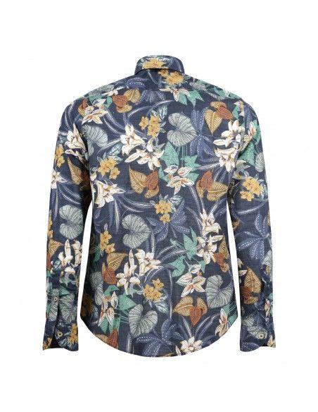 Portofiori - Camicia multicolore con stampa floreale per uomo   garofano ts0960