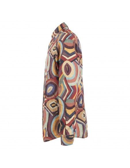 Portofiori - Camicia multicolore con stampa geometrica per uomo   geranio