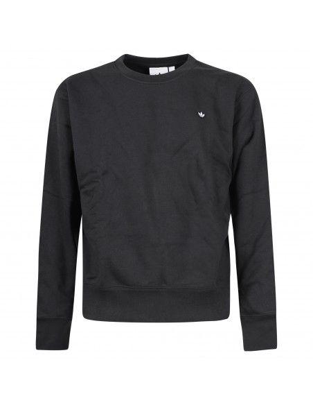 Adidas Originals - Felpa nera girocollo con patch logo per uomo | gn3374