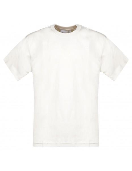 Adidas Originals - T-shirt beige manica corta con patch logo per uomo   gn3370
