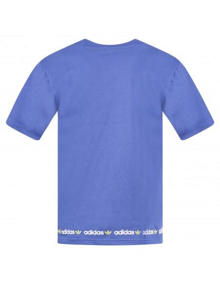 Adidas Originals - T-shirt azzurra manica corta con logo per uomo   gn7128