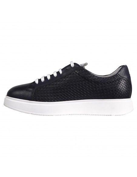 Antica Cuoieria - Sneakers blu lavorazione intreccio per uomo | 22031-2-v55