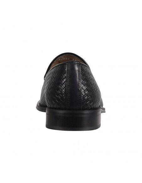 Antica Cuoieria - Mocassino nero pelle nappine intrecciato per uomo |