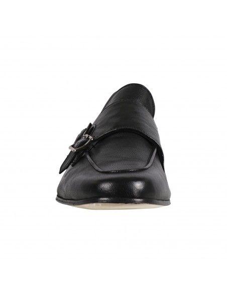 Antica Cuoieria - Mocassino nero pelle con doppia fibbia per uomo | 22297-v-v07