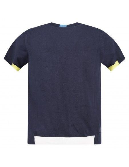 MQJ - T-shirt blu in maglia di cotone a manica corta con dettagli colorati per
