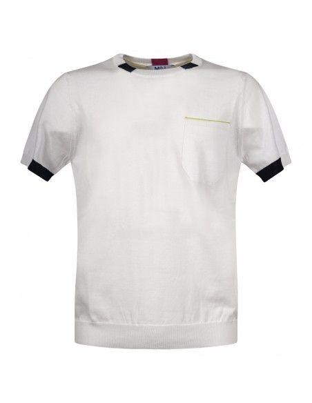 MQJ - T-shirt bianca in maglia di cotone a manica corta con dettagli colorati