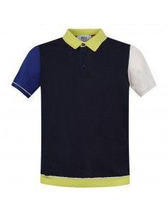 Polo blu in maglia di cotone manica corta con il collo bicolore