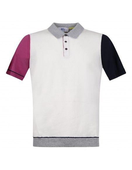 MQJ - Polo bianca in maglia di cotone manica corta collo bicolore per uomo |