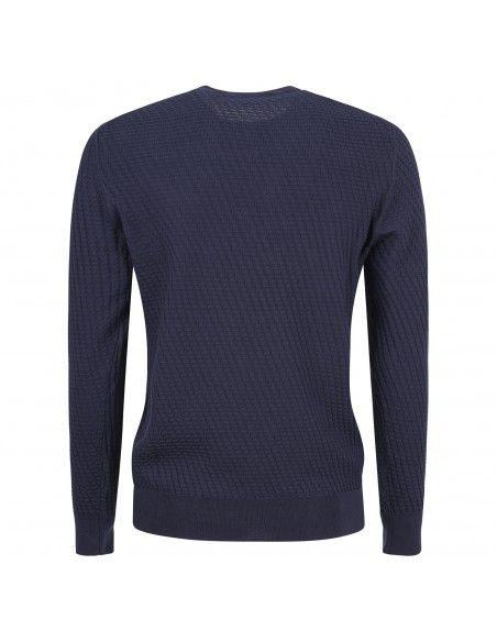 +39 Masq - Maglione girocollo blu con lavorazione per uomo | masq1025-14-00 650