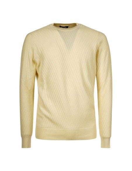 +39 Masq - Maglione girocollo giallo con lavorazione per uomo | masq1025-14-00