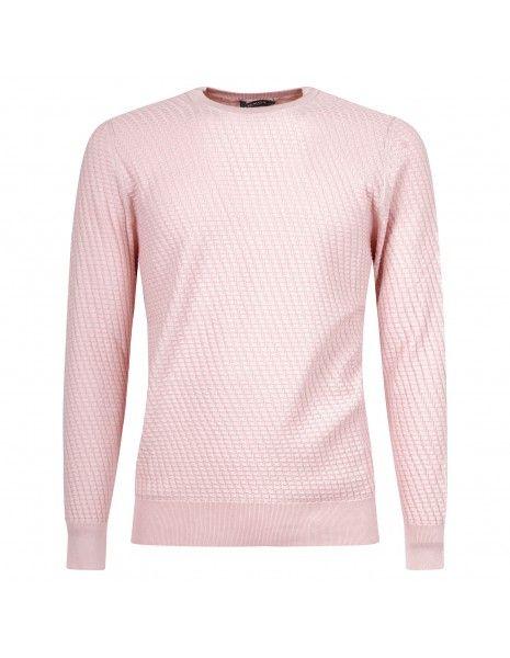 +39 Masq - Maglione girocollo rosa con lavorazione per uomo | masq1025-14-00 465