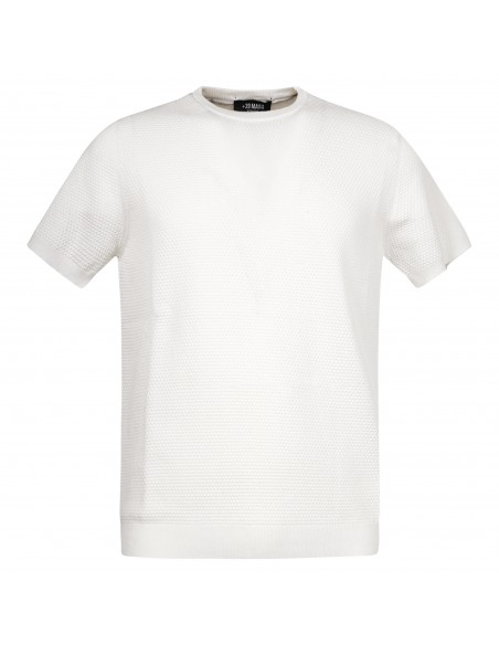 +39 Masq - T-shirt bianca in maglia di cotone a manica corta con lavorazione