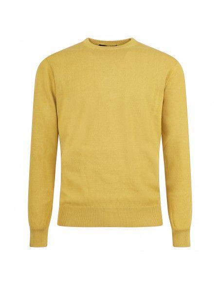 Blu Cashmere - Maglione girocollo giallo per uomo   girocollo uomo eu201201