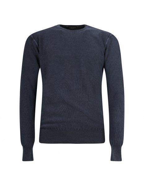Blu Cashmere - Maglione girocollo blu lavorato per uomo   girocollo piquet