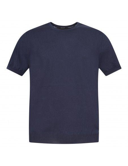 +39 Masq - T-shirt blu in maglia di cotone a manica corta per uomo  