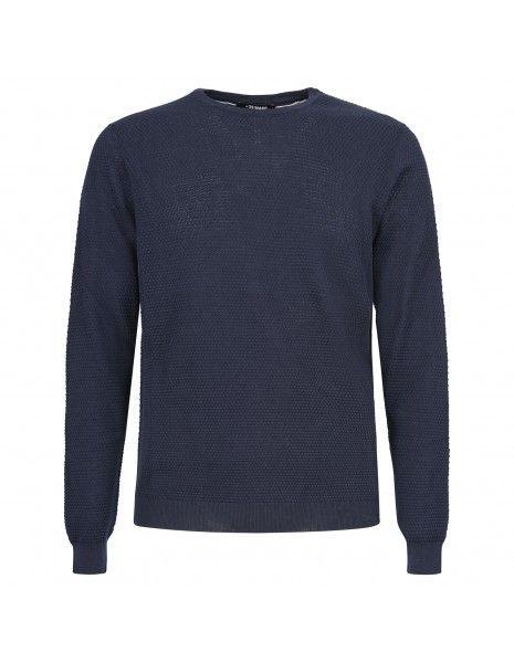 +39 Masq - Maglione girocollo blu con lavorazione per uomo | masq1400-14-00 650