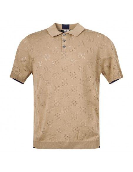 +39 Masq - Polo beige in maglia di cotone a manica corta con lavorazione per